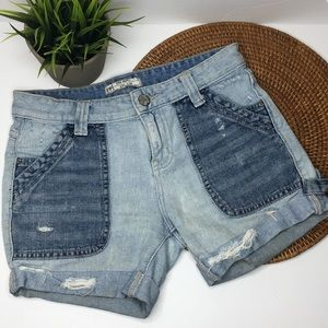 Free People two tone jean shorts distressed sz 24